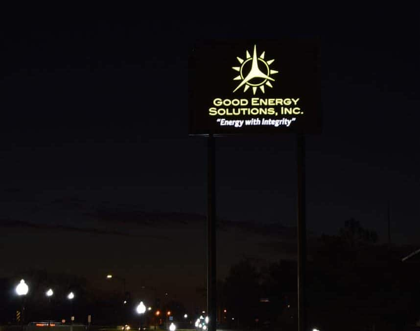 Solar Powered Signs Shine Bright at Night for Good Energy Solutions