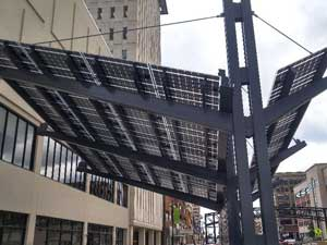 Solar Awning in Westar's Pocket Park in Topeka, Kansas